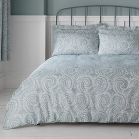 Abigail Blue Textured Cover and Pillowcase Set