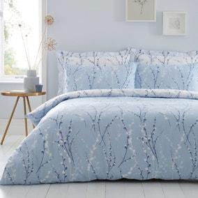 Belle Blue Reversible Duvet Cover and Pillowcase Set