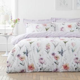 Bryony Purple Reversible Duvet Cover and Pillowcase Set