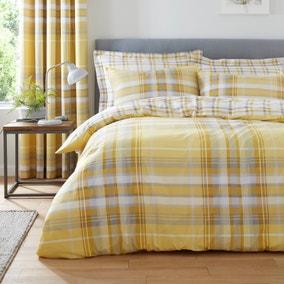 Ovie Ochre Reversible Duvet Cover and Pillowcase Set