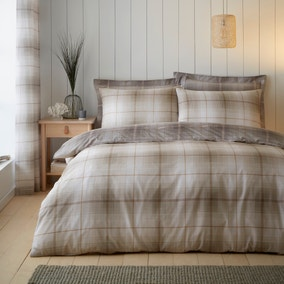 Albie Natural Reversible Check Duvet Cover and Pillowcase Set