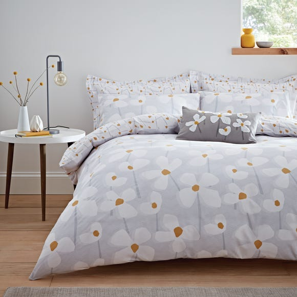 Elements Lena Grey Duvet Cover and Pillowcase Set Grey undefined