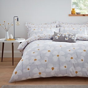 Elements Lena Reversible Grey Duvet Cover and Pillowcase Set