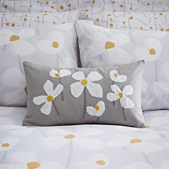 Elements Lena Embroidered Boudoir Cushion Grey