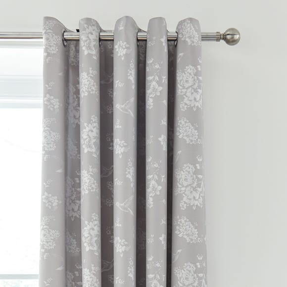 Gianna Grey Floral Blackout Eyelet Curtains  undefined