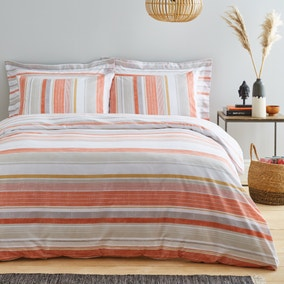 Felix Orange Stripe Reversible Duvet Cover and Pillowcase Set