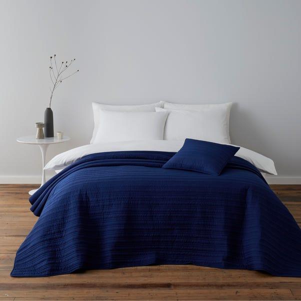 Blue Channel Stitch Square Cushion Blue