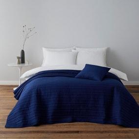 Blue Channel Stitch Square Cushion
