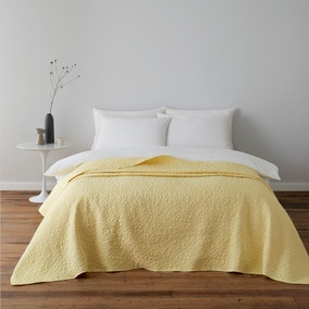 Bloom Floral Yellow Quilted Bedspread