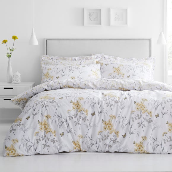 Maria Ochre Reversible Floral Duvet Cover and Pillowcase Set  undefined