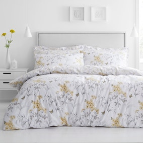 Maria Ochre Reversible Floral Duvet Cover and Pillowcase Set