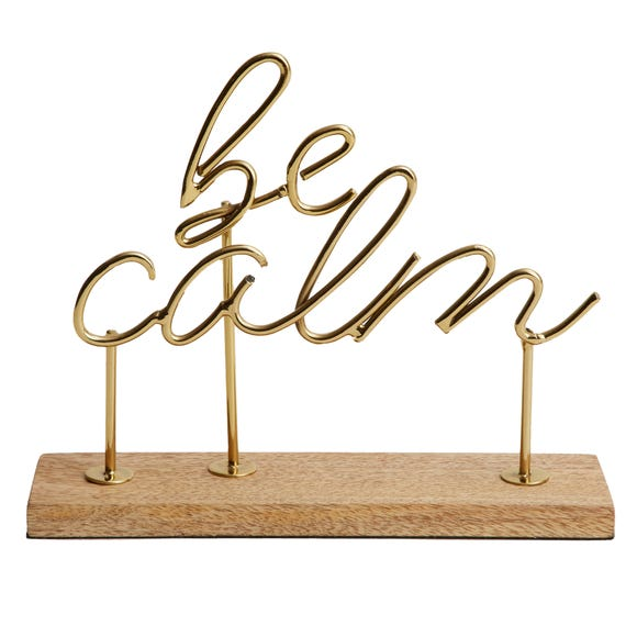 Be Calm Word Ornament Gold