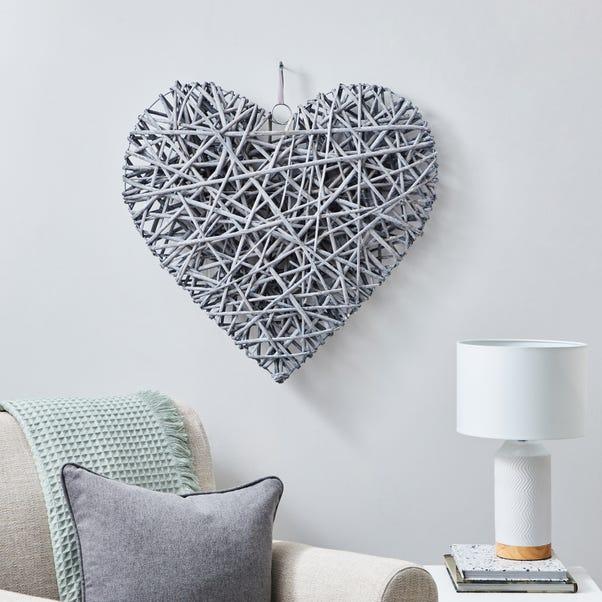 Large Wicker Heart Grey