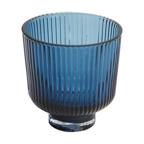 Blue Glass ribbed Tealight Holder