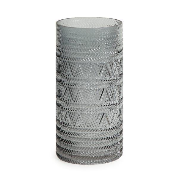 Geo Embossed Glass Cylinder Vase Grey