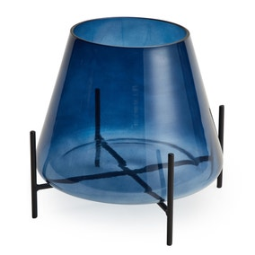 Blue Glass Conical Vase with Black Metal Stand