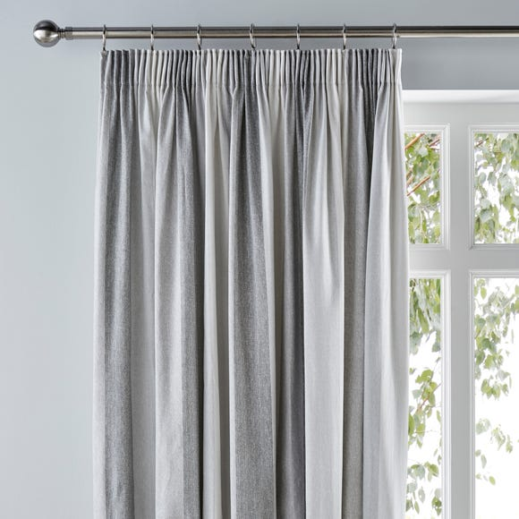 Wide Stripe Grey Pencil Pleat Curtains  undefined