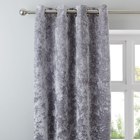 Crushed Velour Silver Eyelet Curtains Silver undefined