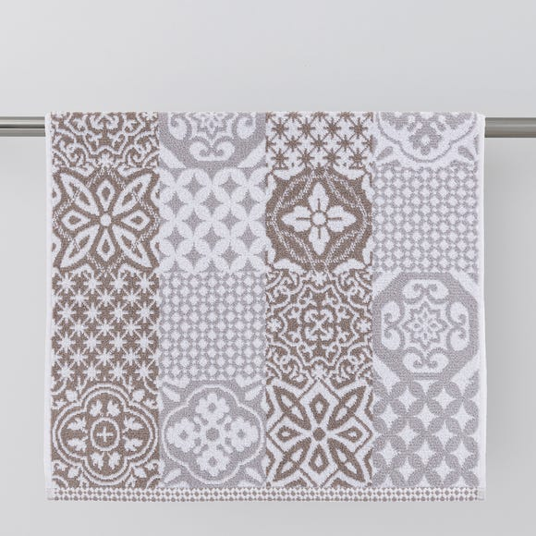 Geo Tile Grey Towel  undefined