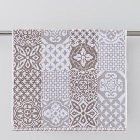 Geo Tile Grey Towel
