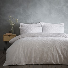 Astra White Textured Floral Duvet Cover and Pillowcase Set