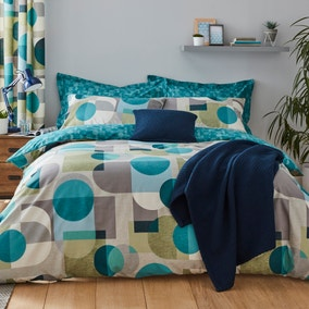 Elements Oscar Reversible Blue Duvet Cover and Pillowcase Set