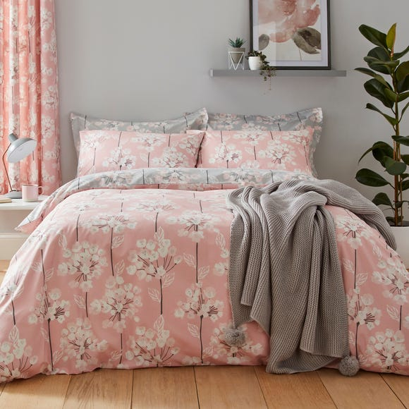 Erin Blush & Grey Reversible Duvet Cover and Pillowcase Set Pink undefined