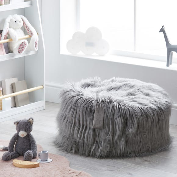 Kids Skylar Grey Mongolian Faux Fur Lounger Grey