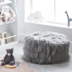Kids Skylar Grey Mongolian Faux Fur Lounger
