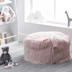 Kids Skylar Blush Mongolian Faux Fur Lounger