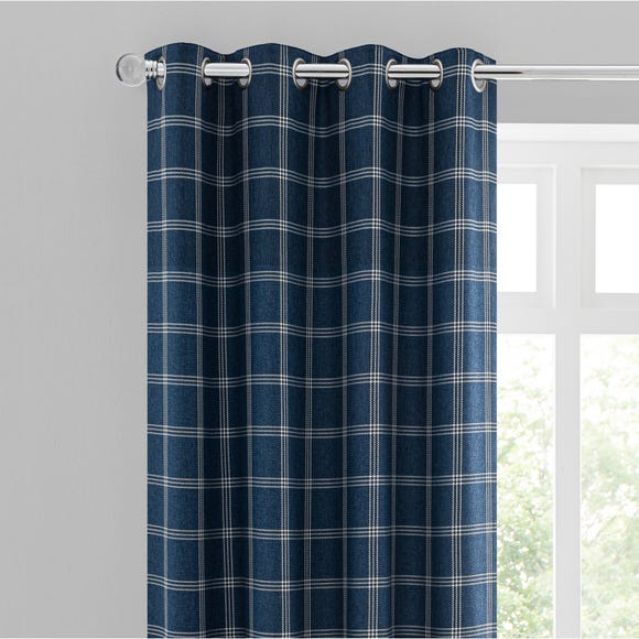 North Check Navy Eyelet Curtains  undefined