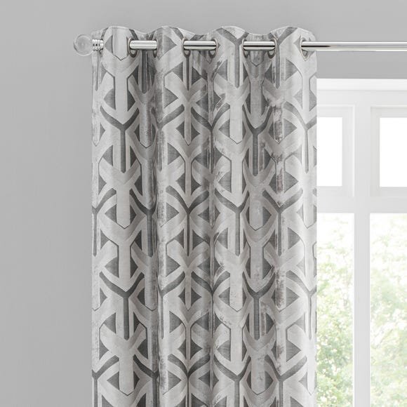 Lux Geo Jacquard Silver Eyelet Curtains  undefined