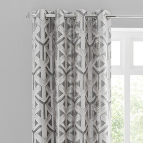 Lux Geo Jacquard Silver Eyelet Curtains