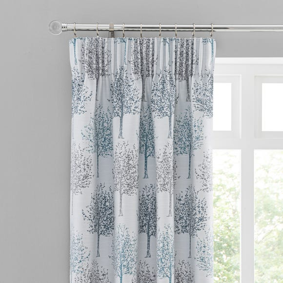 Jacquard Trees Teal Pencil Pleat Curtains  undefined