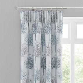 Jacquard Trees Teal Pencil Pleat Curtains
