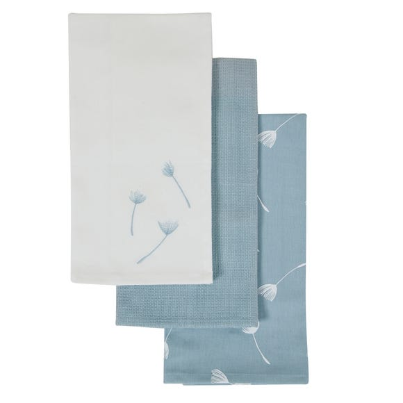 Pack of 3 Purity Tea Towels Blue