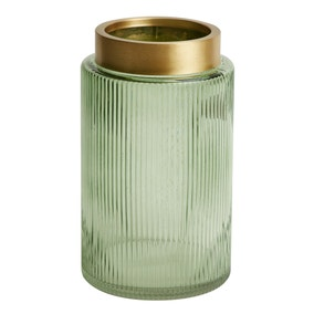 Green and Gold Ribbed Glass Vase