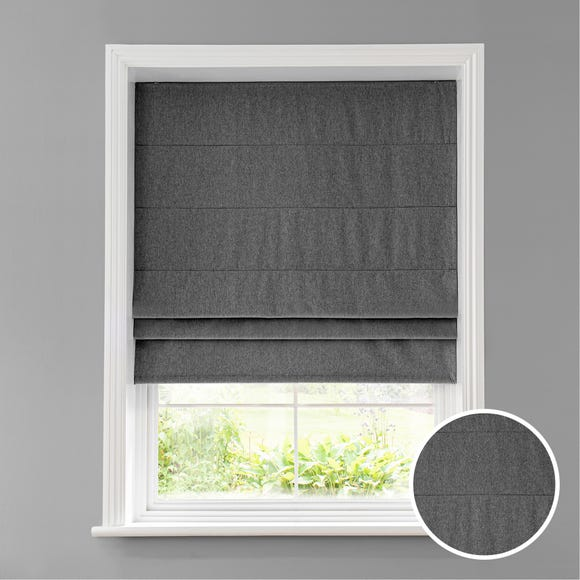 Luna Charcoal Blackout Roman Blind Charcoal undefined