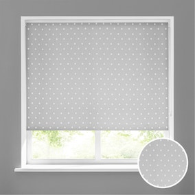 Dotty Grey Stain Resistant Daylight Roller Blind