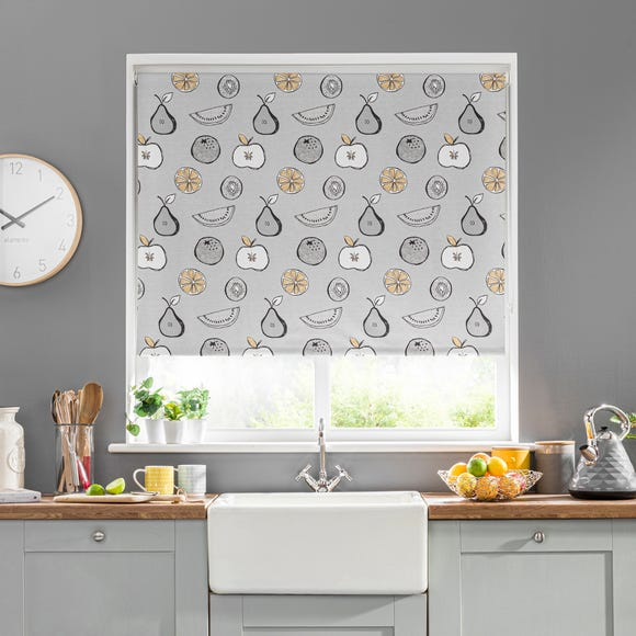 Scandi Fruit Grey Blackout Roller Blind  undefined