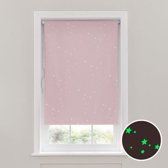 Glow in the Dark Stars Cordless Blackout Roller Blind Blush undefined
