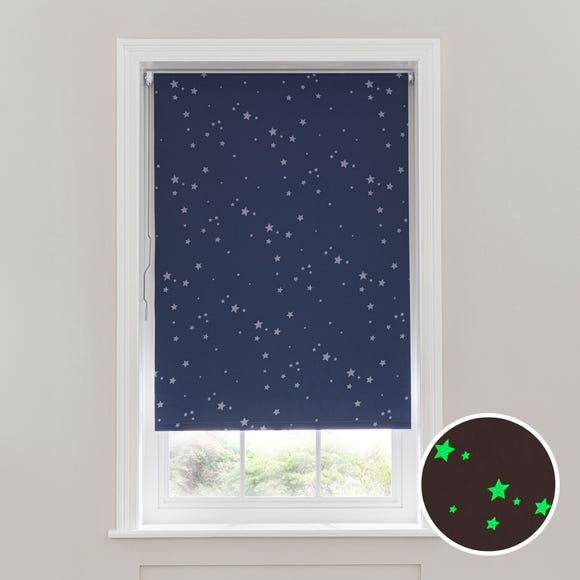 Glow in the Dark Stars Cordless Blackout Roller Blind Navy undefined
