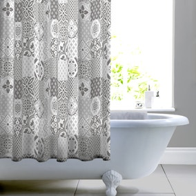 Geo Tile Grey Shower Curtain