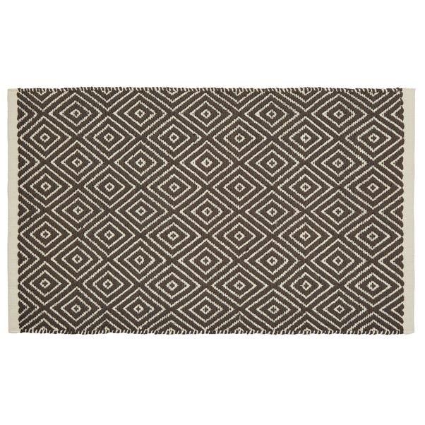 Geo Tile Flat Weave Bath Mat Grey
