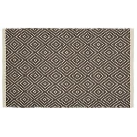Geo Tile Flat Weave Bath Mat