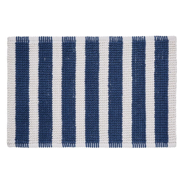 Nautical Bobble Stripe Navy Bath Mat Navy