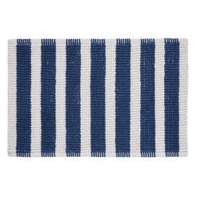 Nautical Bobble Stripe Navy Bath Mat