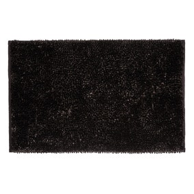 Sparkle Chenille Black Bath Mat