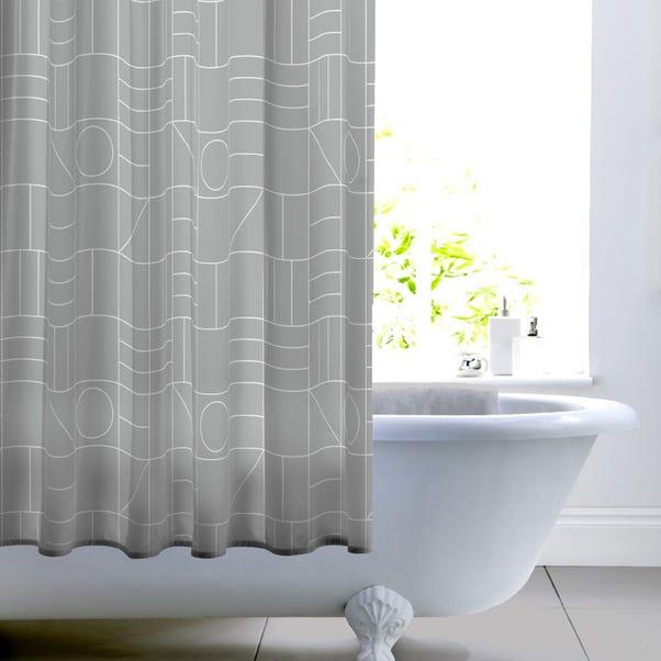 Elements Geo Grey Shower Curtain Grey