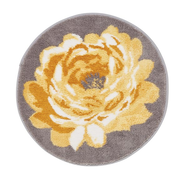 Ashbourne Ochre Floral Bath Mat Ochre (Yellow)